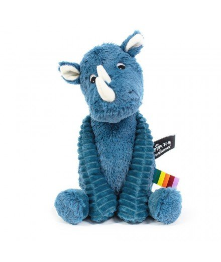 Peluche Les Ptipotos Grobisou le Rhinocéros - bleu