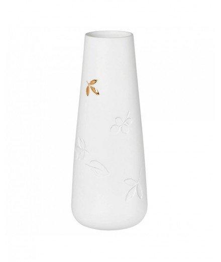 Vase en porcelaine - Feuilles dorées