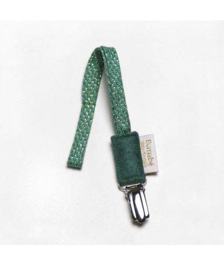 Attache tétine en coton et lurex - Vert Sapin
