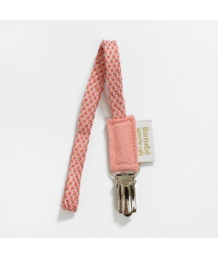 Attache tétine en coton et lurex - Rose Chamallow