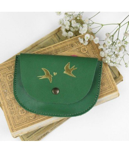Porte-monnaie en cuir Couple d'hirondelles - Vert