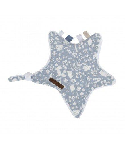 Doudou plat attache-tétine Etoile - Aventure Bleu
