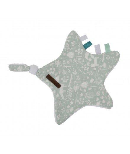 Doudou plat attache-tétine Etoile - Aventure Vert menthe