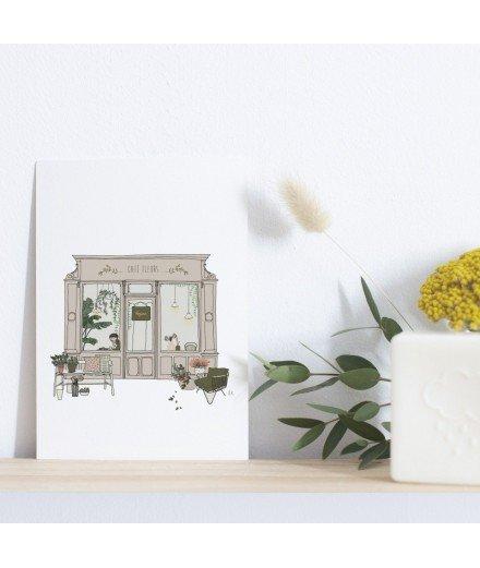 "Carte postale - ""Café Fleurs"""