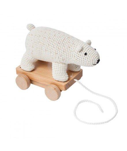 Jouet à tirer en crochet - Ours blanc