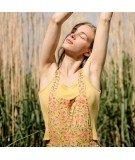 Salopette en coton à Fleurs Corn flowers - Jaune