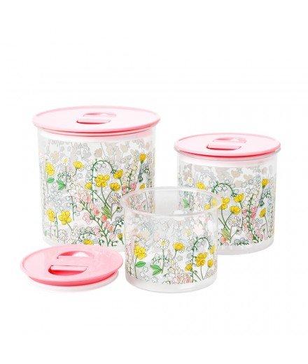 Set de 3 boîtes de rangement hermétiques - Fleurs Lupin