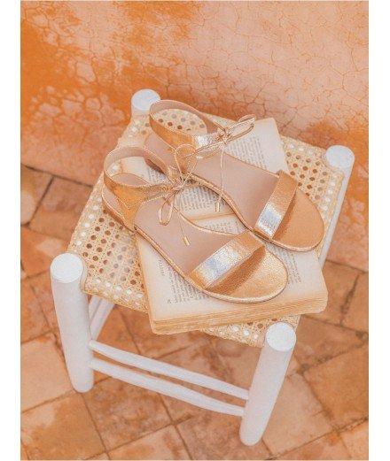 Sandales La Conquise - Doré craquelé