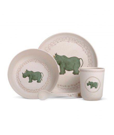 Set de vaisselle en bambou - Rhinocéros Couronne