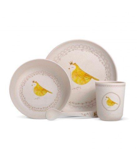 Set de vaisselle en bambou - Oiseau Couronne