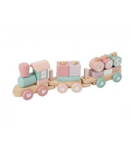 Trains à blocs en bois - Rose