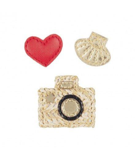 Set de barrettes vacances - Appareil photo,Coquillage et Coeur