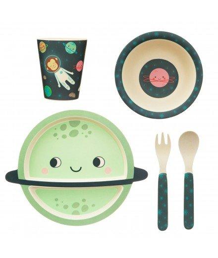 Set de vaisselle en bambou pour enfant - Espace