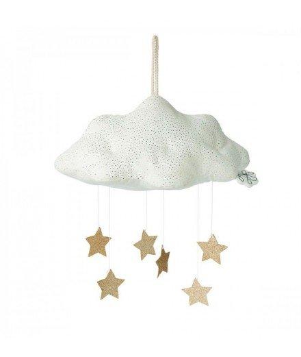 Mobile Nuage blanc et étoiles or à paillettes
