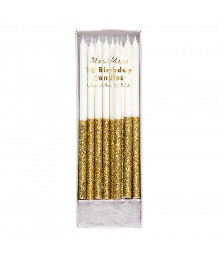 Set de 16 bougies - Paillettes dorées
