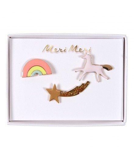 Set de 3 pin's émaillés - Licorne, étoile filante et arc-en-ciel