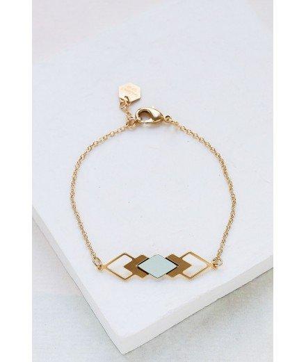 Bracelet doré à l'or fin Homage - Vert clair