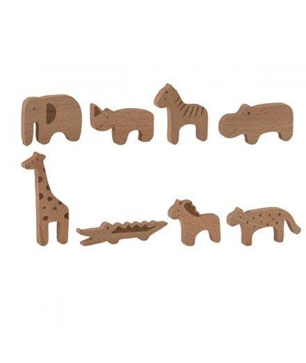 Set de 8 figurines en bois - Animaux de la Savane