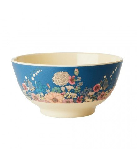 Grand bol en mélamine bleu - fleurs