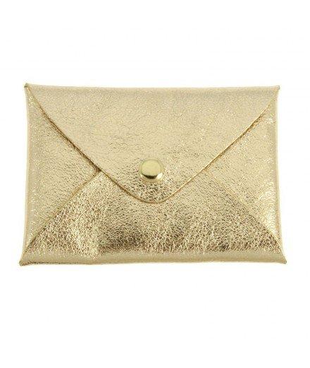 Petite pochette en cuir Origami - Doré