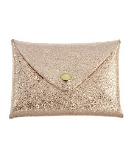 Petite pochette en cuir Origami - Or rose