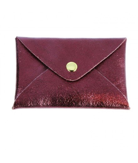 Petite pochette en cuir Origami - Bordeaux métallisé