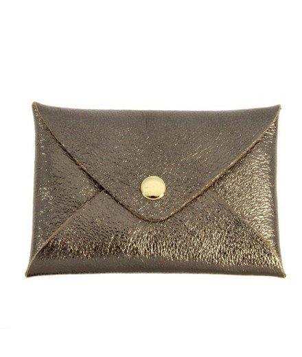 Petite pochette en cuir Origami - Chocolat
