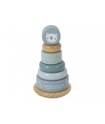 Pyramide anneaux de bois Adventure - Bleu