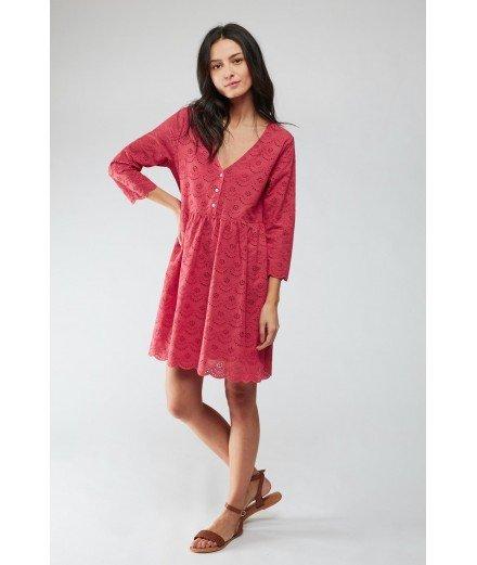 Robe en coton Onelia - Goyave