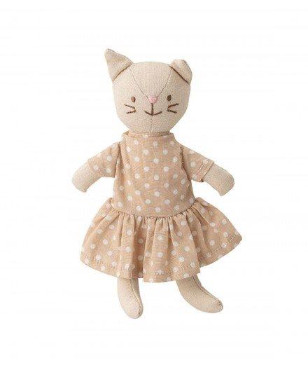 Petite poupée en tissu - Chat en robe à pois