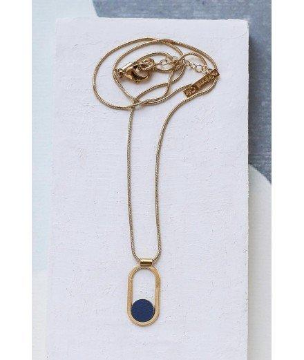 Collier doré à l'or fin Contour - Bleu Marine