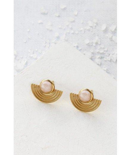 Boucles d'oreilles puces Amphi - Rose