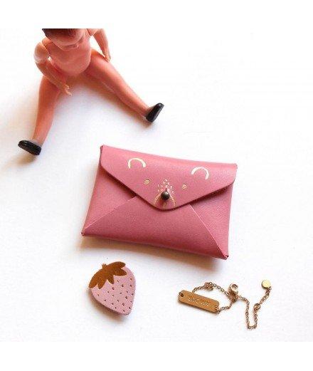 Mini pochette Ourson en cuir - Fraise