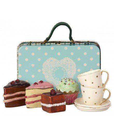 Valise bleue avec service à thé et cakes - Maileg