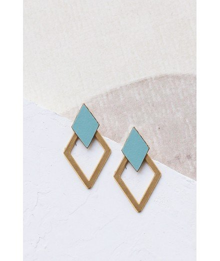 Boucles d'oreilles puces Homage J - Turquoise