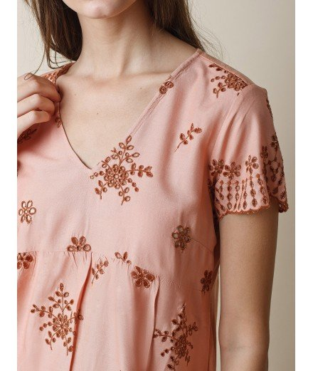 T-shirt brodé Rim - Rose poudré