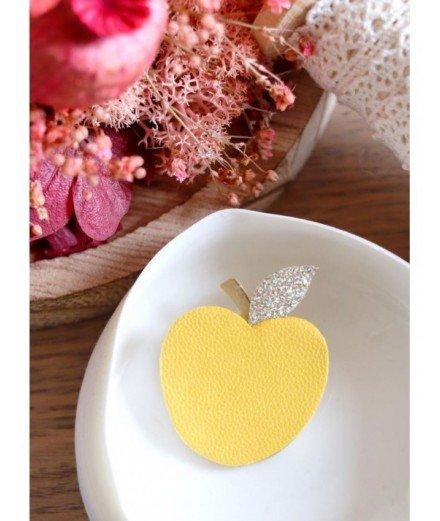 Broche en cuir recyclé Pomme - Canari
