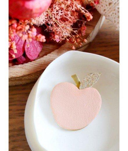 Broche en cuir recyclé Pomme - Terracotta