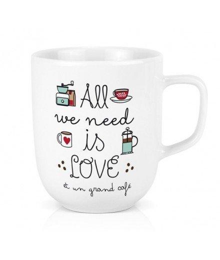 Mug XL - All we need is love et un grand café