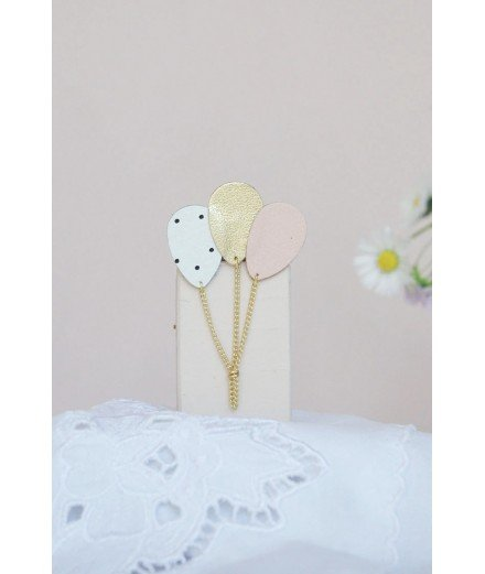 Broche Ballons en cuir - Rose, Blanc et pois