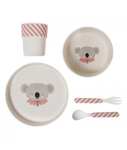 Set de vaisselle en bambou - Koala rose