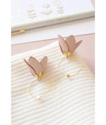Boucles d'oreilles pétales de cuir fleur - Rose