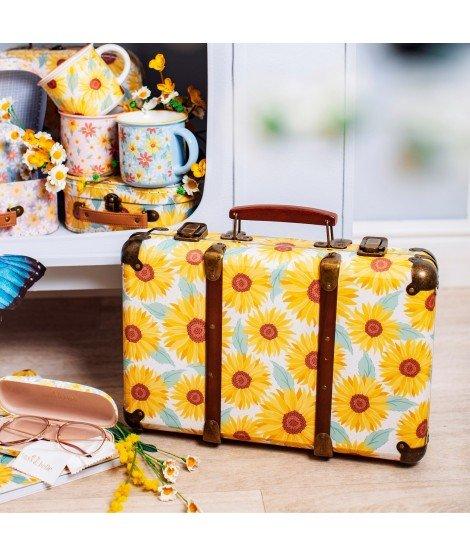 Grande valise vintage motif floral - Tournesols