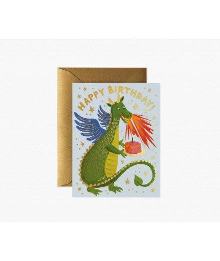 Carte double Happy Birthday - Dragon