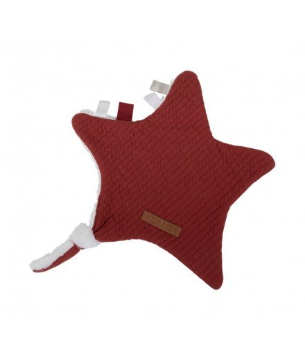 Doudou plat attache-tétine Etoile - Pure Indian Red