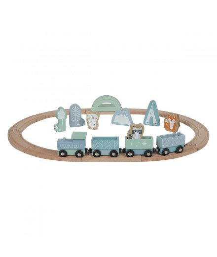 Circuit de train en bois - Bleu