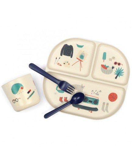 Coffret set de vaisselle bambou plateau compartimenté - Bleu