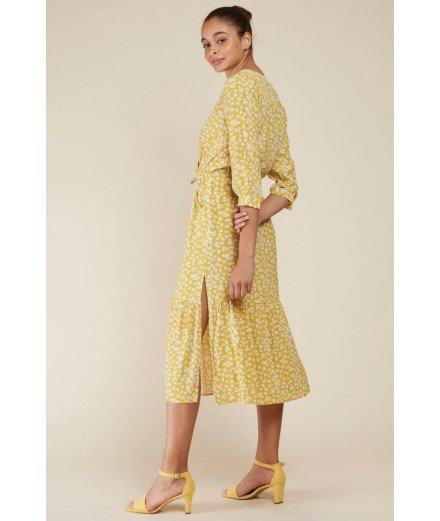 Robe Midi Jaune à fleurs - Amelle