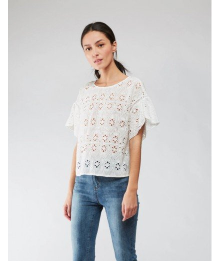 Top en broderie Anglaise Cherry - Blanc