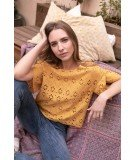 Top en broderie Anglaise Cherry - Moutarde